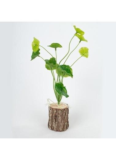 Çiçekmisin Kütük Saksıda Yapay Yeşillik Renkli